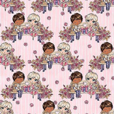Tecido Tricoline Digital O Encontro - Fundo Rosa - Coleção Valentine - Preço de 50cm x 150cm