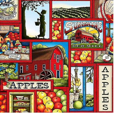 Tecido Tricoline Digital Apple Farm - Coleção Apple Lovers - Preço de 50cm x 150cm