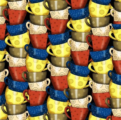 Tecido Tricoline Digital Xícara de Café - Coleção Coffe - Preço de 50cm x 150cm
