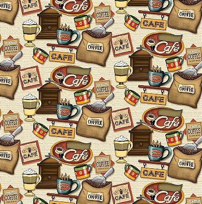 Tecido Tricoline Digital Café - Fundo Creme - Coleção Coffe - Preço de 50cm x 150cm