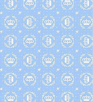 Tecido Tricoline Coroa - Fundo Azul Claro - Preço de 50cm x 150cm