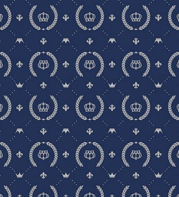 DUPLICADO - Tecido Tricoline Coroa - Fundo Azul Claro - Preço de 50cm x 150cm