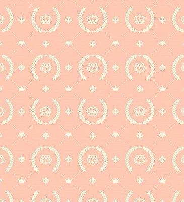 Tecido Tricoline Coroa - Fundo Salmão - Preço de 50cm x 150cm