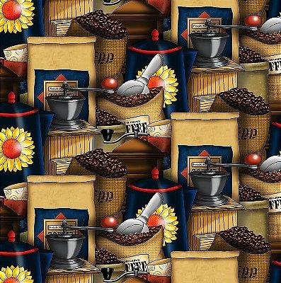Tecido Digital - Empório de Café - Preço de 50 cm x 140 cm