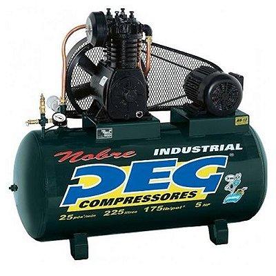 Compressor De Ar 25/225 Litros 220/380V Tri Alta Pressão Peg