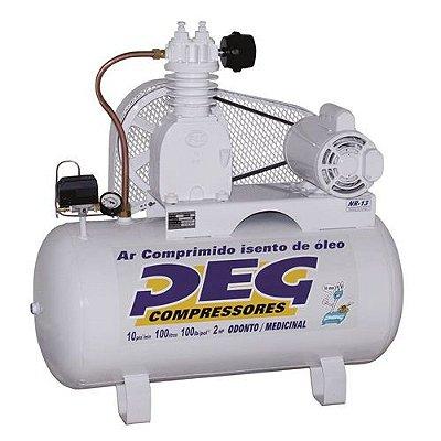 Compressor de Ar 10/100 Litros 110/220V Monofásico Odontológico PEG
