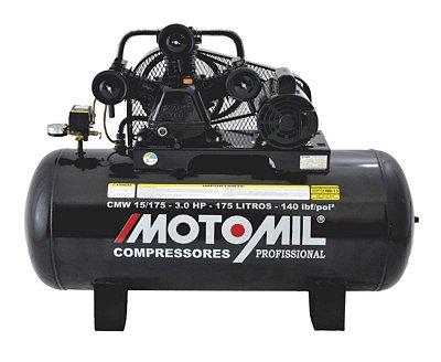 Compressor De Ar 15pés 3cv 175litros Mono Cmw Motomil