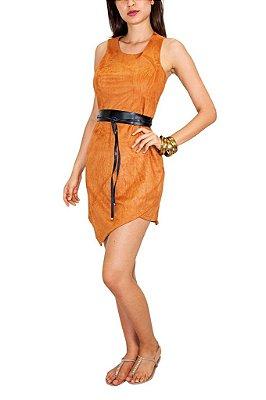 PURA ESSENCIA vestido curto suede