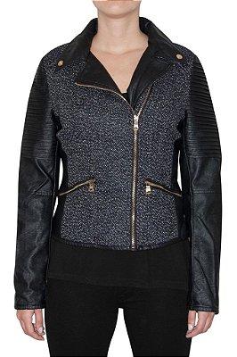 QUEENS jaqueta preta e branca