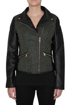 QUEENS jaqueta preta e verde