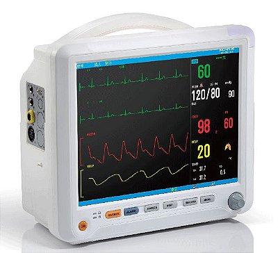 Monitor de Sinais Vitais Multiparamétrico ECG/respiração, SpO2, PNI e dois canais de Temperatura Touch Screen 15 Polegadas