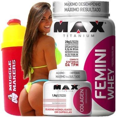 COMBO NICOLE FEMINI WHEY 600g + COLÁGENO 100caps - MAX TITANIUM
