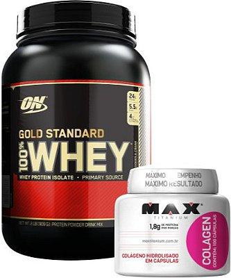 COMBO 100% WHEY GOLD STANDARD (909g) OPTIMUM + COLÁGENO MAX (100caps)