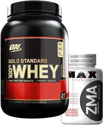 COMBO 100% WHEY GOLD STANDARD (909g) OPTIMUM + ZMA MAX (90caps)