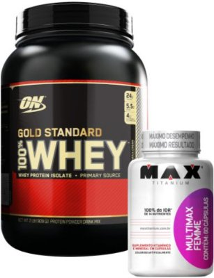 COMBO 100% WHEY GOLD STANDARD (909g) OPTIMUM + MULTIVITAMÍNICO FEMME MAX (90caps)