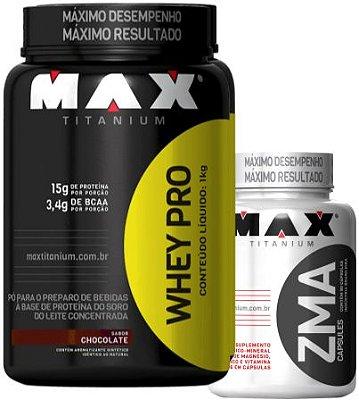 COMBO WHEY PRO (1000g) + ZMA (90caps) MAX TITANIUM