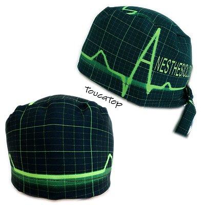 Gorro cirúrgico digital - Tema Eletrocardiograma ECG - Preto com Linhas  Verdes Neon - Anesthesiology - bdd77bab343