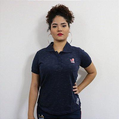 POLO FEMININA LEÃO - AZUL MARINHO