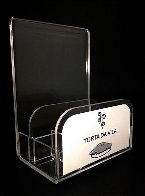Porta Guardanapos Personalizado com Porta Folder 12x15cm para Bares, Restaurantes e Lanchonetes