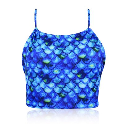 Top de Biquíni Cropped Sereia Azul