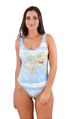 Maiô Body Cavado Mapa Mundi Azul