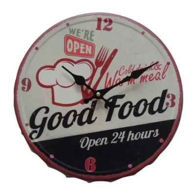 "Relógio de Parede Decorativo ""Bottle Cap Good Food"" - 31 cm"