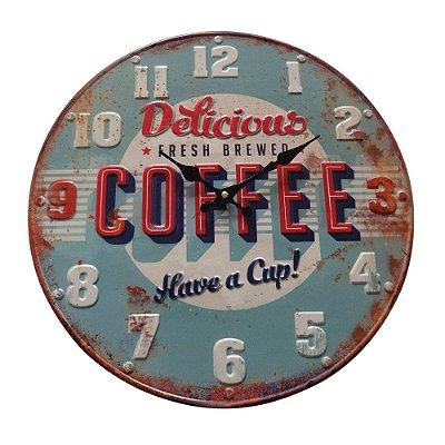 """Relógio de Parede Decorativo """"Bottle Cap Delicious Coffee"""" - 40 cm"""