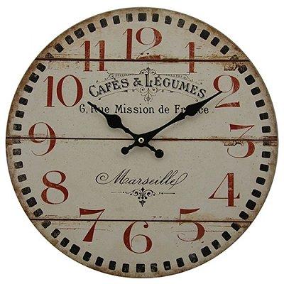 """Relógio de Parede Decorativo """"Cafés e Légumes"""" - 34 cm"""