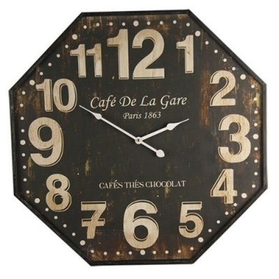 "Relógio de Parede Decorativo ""Café de La Gare"" - 60 cm"