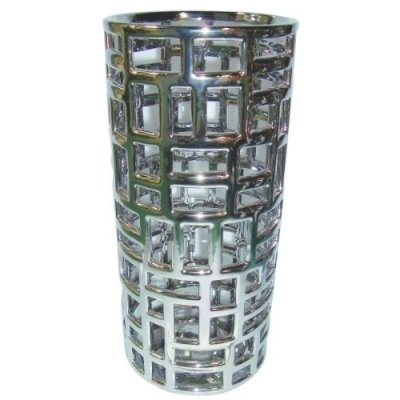 Porta Guarda-Chuva de Cerâmica Prata - 48 cm