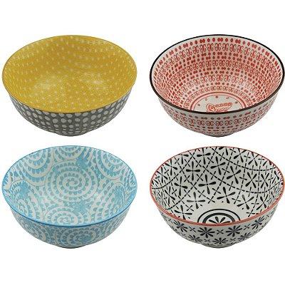 Conjunto de Tigelas de Cerâmica Coloridas - 4 Peças