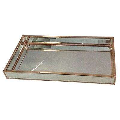 Bandeja Retangular Decorativa de Vidro com Detalhes em Dourado - 34 x 18 cm
