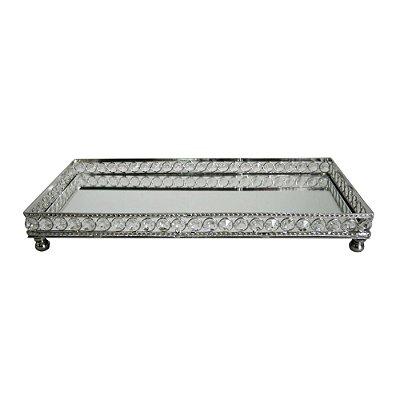 Bandeja Retangular Decorativa Prata com Pedras Espelhadas - 38 x 18 cm