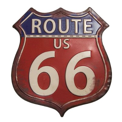 "Placa Decorativa de Ferro ""Route US - 66"" - 30 x 26 cm"
