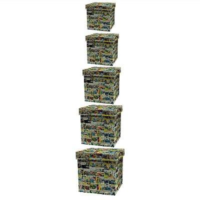 Conjunto de Caixas Organizadoras de Madeira DC Comics Quadrinhos Coloridos - 5 Peças