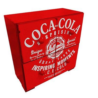 """Mini Gaveteiro Decorativo de Madeira Coca-Cola """"Inspiring Moments"""" - 28 x 25 cm"""