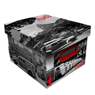 Caixa Organizadora de Plástico Desmontável Coca-Cola Cenários - 26 x 35 cm