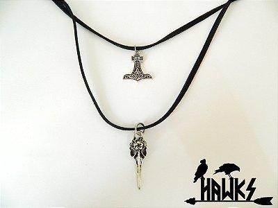 Choker Duplo Mjölnir Gall-Goídil e Crânio de Corvo