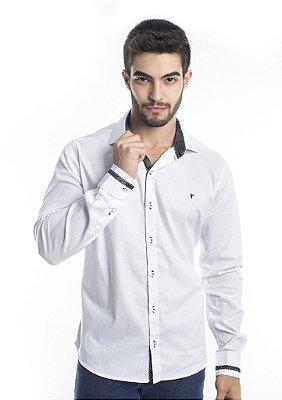 Camisa Branca Social Masculina Com Detalhe Nos Punhos