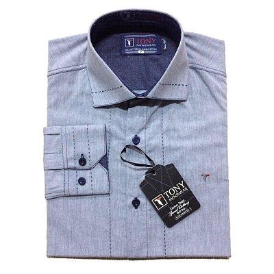 Camisa Social Masculina Azul com Detalhe de Pesponto