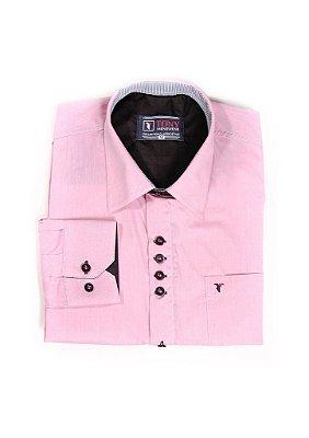 Camisa Social Masculina 100% Algodão Fio 50 com Bolso