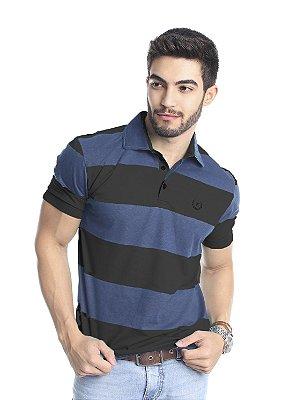 Camisa Polo Masculina de Algodão Listrada