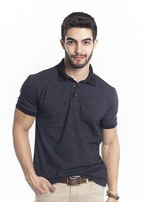 Camisa Polo Masculina Preta com Poás