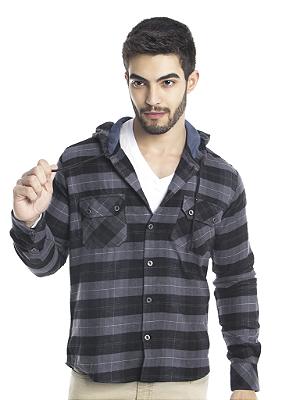 Camisa Xadrez Overshirt de Flanela com Capuz