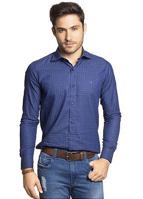 Camisa Social Slim 100% Algodão Fio 60 Azul