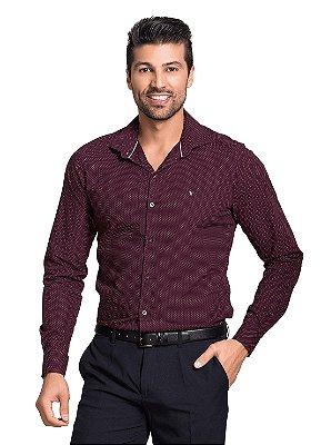 Camisa Masculina Social Slim Estampa Poá