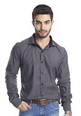 Camisa Social Manga Longa Slim 100% Algodão Fio 60 Cinza