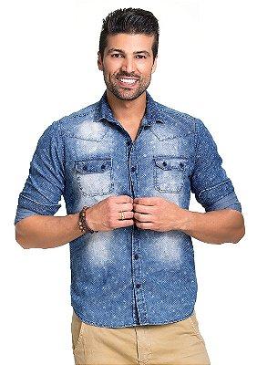 Camisa Jeans Masculina Slim Fit Estampada 100% Algodão
