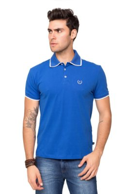 Camisa Polo Piquet Masculina com Elastano