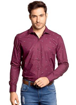 Camisa Slim Fit Social Masculina Estampa Origami